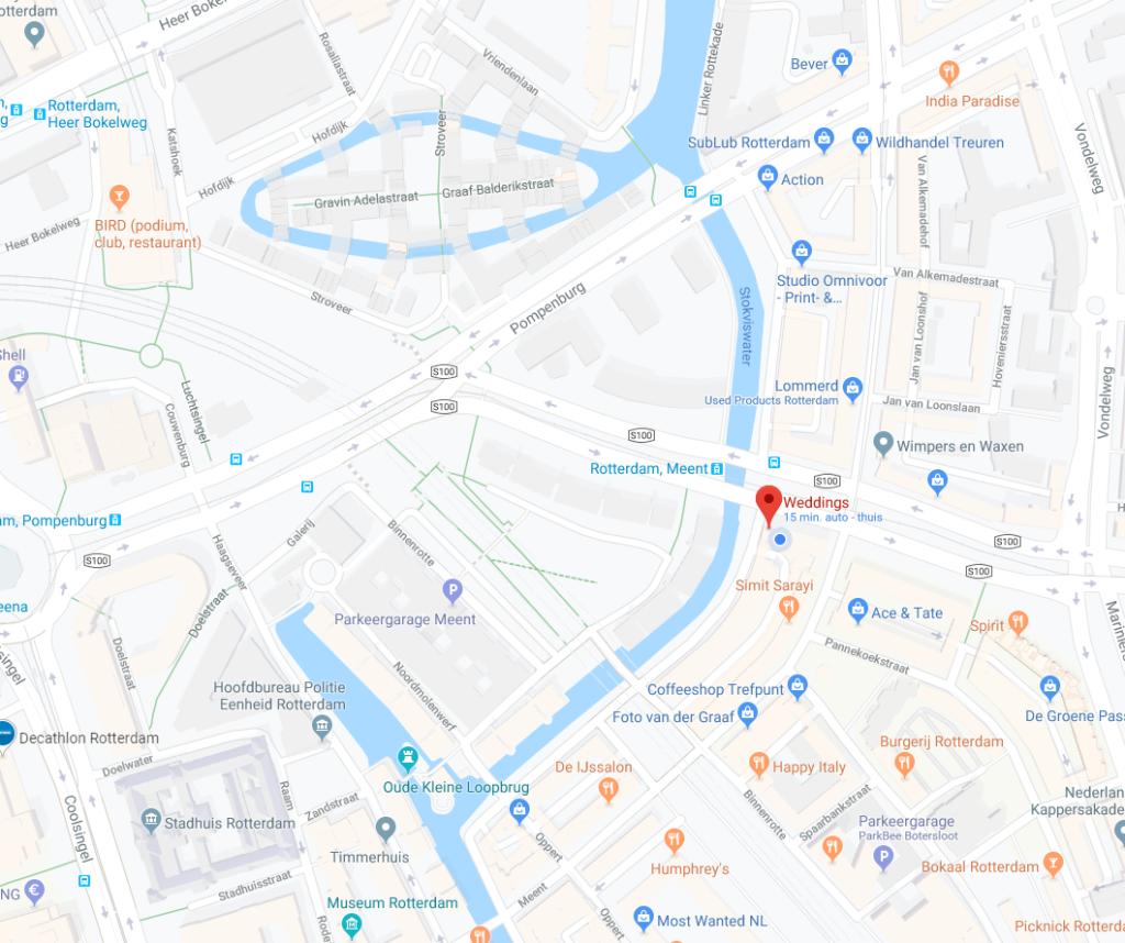 Routebeschrijving naar Weddings Bruidsmode Rotterdam